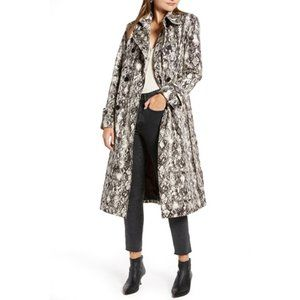 NWT Something Navy Classic Trench Coat Birch Snake